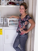 Doing laundry is fun for hairy woman Isabel