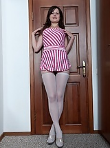 Gerda is a young hairy girl wearing stockings