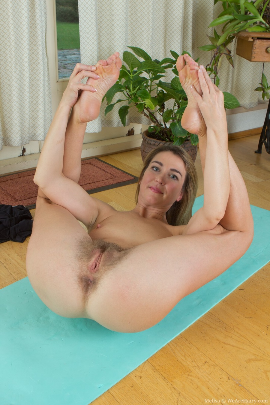 Melisa Exercises Naked And Shows Hairy Pussy