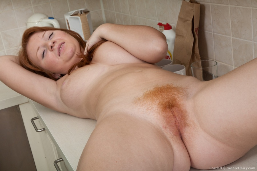 Flaming red hairy pussy