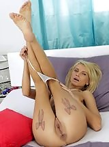 Blonde Karina shows off her delicious pussy