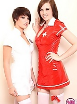 Busty chicks dressed up as nurses